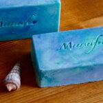 2 Seifen Strandgeflüster blau-grün mit Meerseifen-Prägung